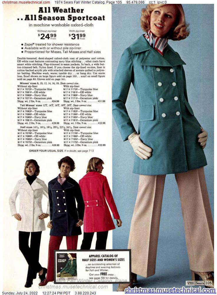 1974 Sears Fall Winter Catalog, Page 105