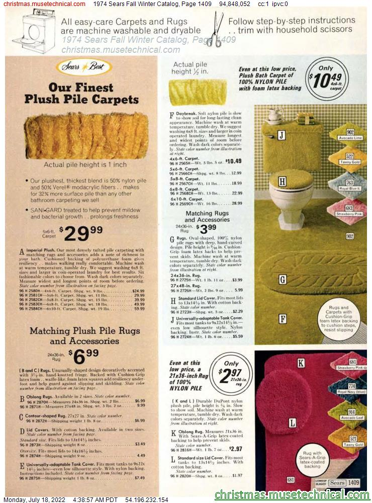 1974 Sears Fall Winter Catalog, Page 1409