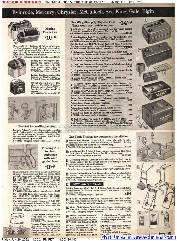 1970 Sears Spring Summer Catalog, Page 527