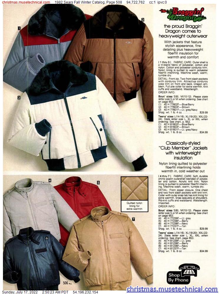 1982 Sears Fall Winter Catalog, Page 508