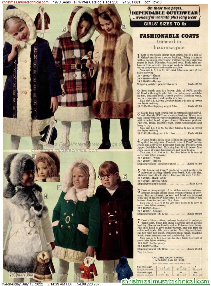 1973 Sears Fall Winter Catalog, Page 250