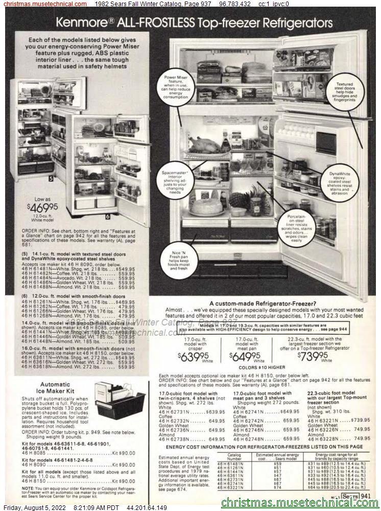 1982 Sears Fall Winter Catalog, Page 937