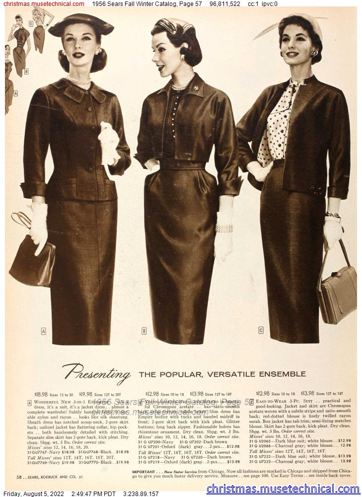 1956 Sears Fall Winter Catalog, Page 57