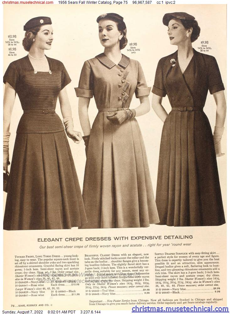 1956 Sears Fall Winter Catalog, Page 75