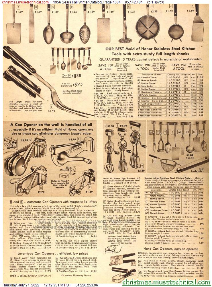 1956 Sears Fall Winter Catalog, Page 1084