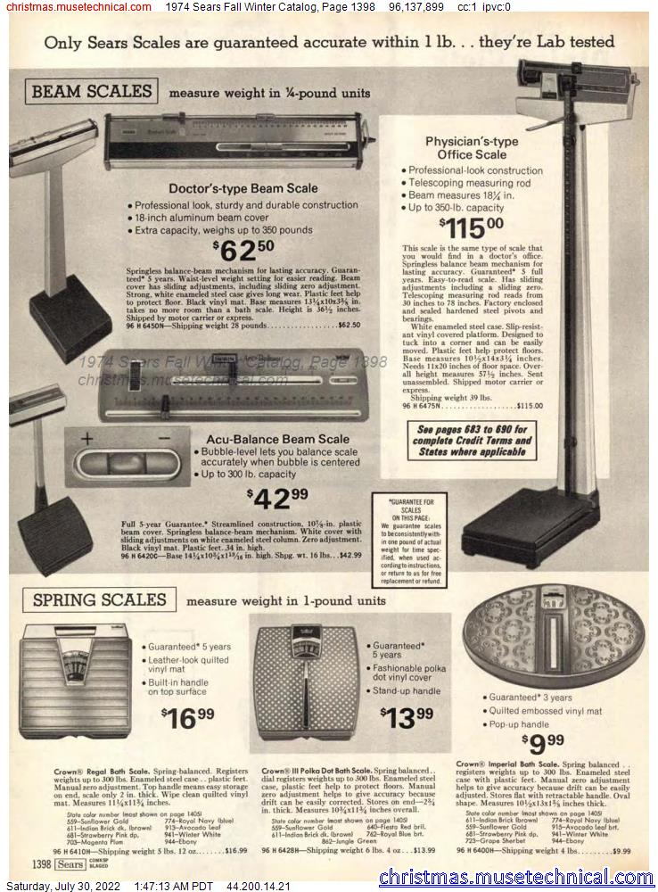 1974 Sears Fall Winter Catalog, Page 1398