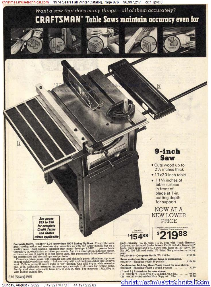 1974 Sears Fall Winter Catalog, Page 876