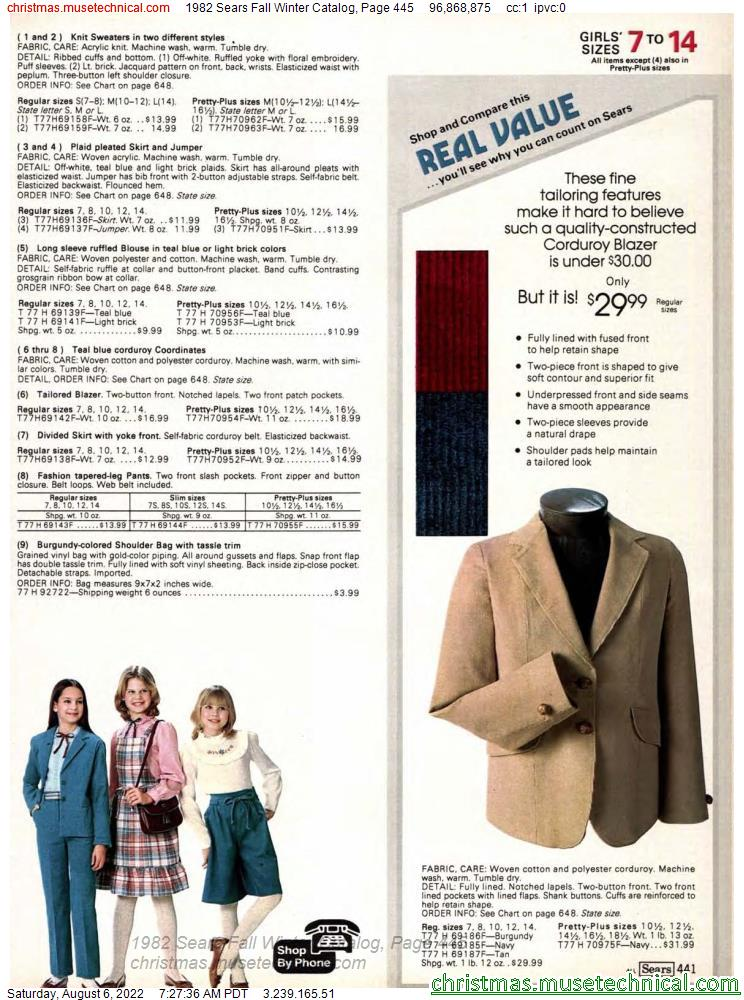 1982 Sears Fall Winter Catalog, Page 445