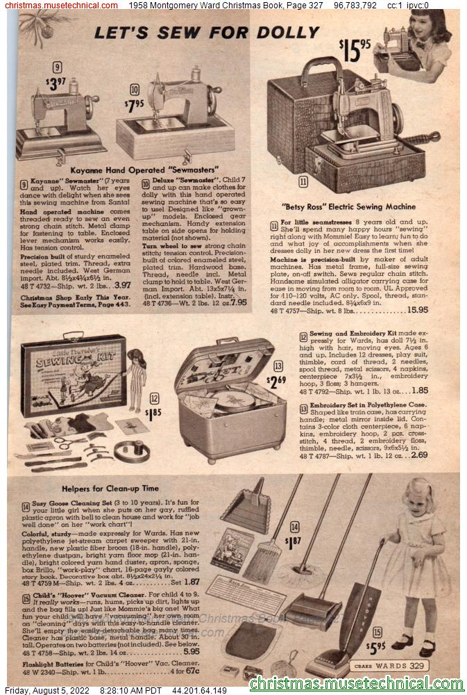 1958 Montgomery Ward Christmas Book, Page 327