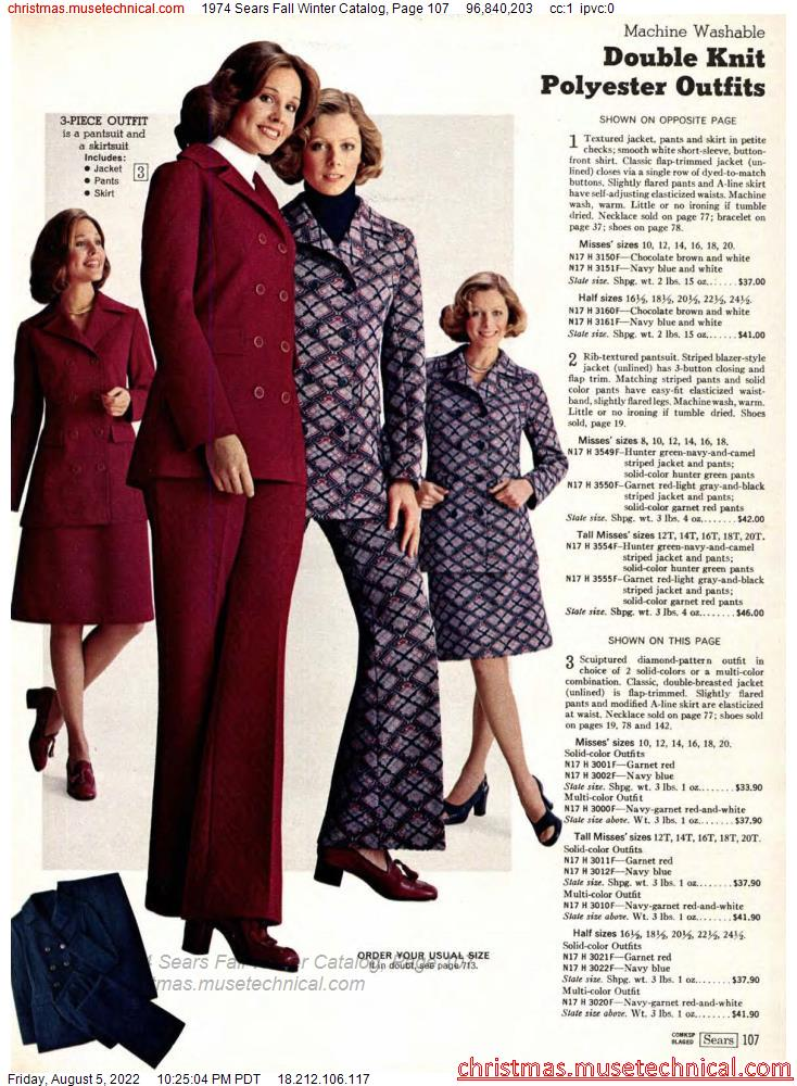 1974 Sears Fall Winter Catalog, Page 107
