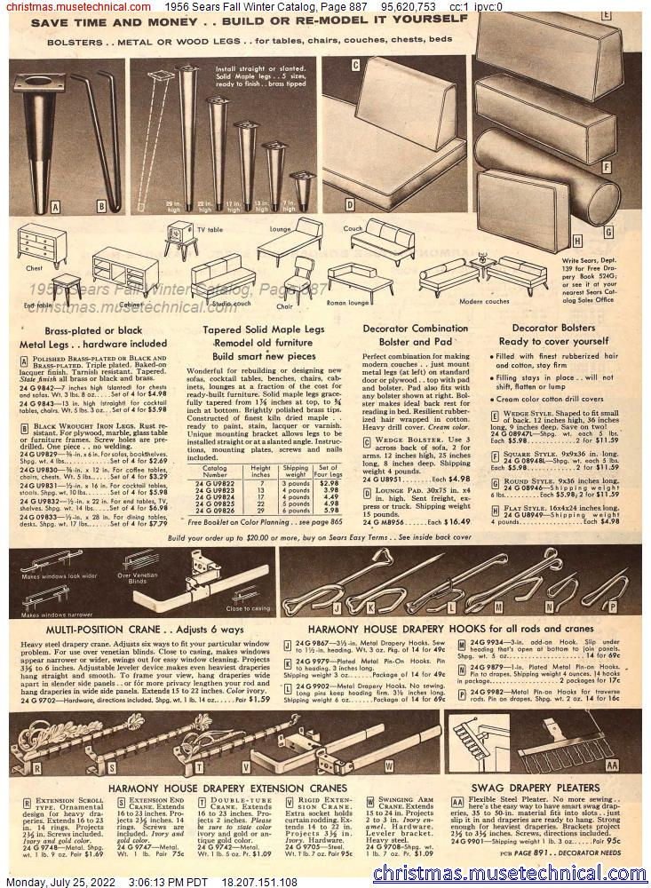 1956 Sears Fall Winter Catalog, Page 887