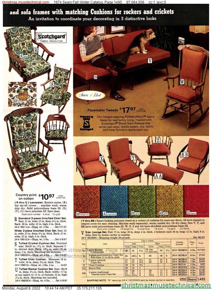 1974 Sears Fall Winter Catalog, Page 1495
